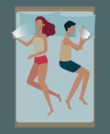 Man and woman resting and sleeping positions in a bed flat vector illustration on light blue background. Relax night for body male and female characters top view icon.