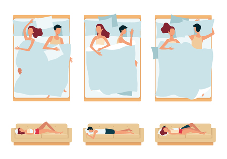 Set of sleeping couple, man and woman sleeping together and separately on the bed and the couch with pillow in different positions and poses. Night rest and relax set, vector flat illustration.
