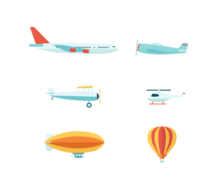 Advertising media vehicles and air balloons flat icons set vector illustration isolated on white background. Aviation vehicles such as airplanes, helicopter and dirigible.