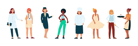 Women of different races and professions women standing and laughing in modern uniforms background. International group ethnicity and professional diversity of people concept flat vector illustration isolated on the white bavkground. Vettoriali