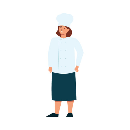 Female diversity conceptual image of professional cook woman flat vector illustration isolated on white background. Girls power and feminism ideas of women empowerment.