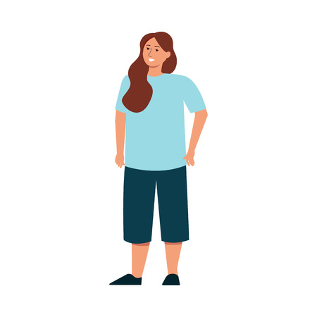 Concept of body positive woman and beauty diversity of different women in the flat style vector illustration isolated on white background. Caucasian plus size girl in casual clothing.