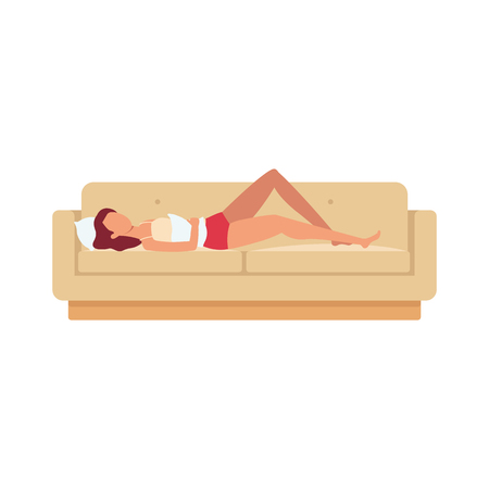 Sleeping brown haired woman is lying on the sofa on her back with a pillow in her hand and under her head. Night rest and relaxation in different positions, vector flat illustration.