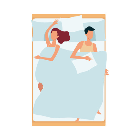 A couple sleeps together, a man and a woman sleep on their backs on a bed with a pillow and under a blanket in different positions and postures. Night rest and relaxation, vector flat illustration.