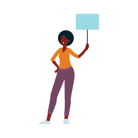 Young African American woman with protest banner sign. Demonstration rally participant with blank message poster template, flat cartoon vector illustration isolated on white background Illustration