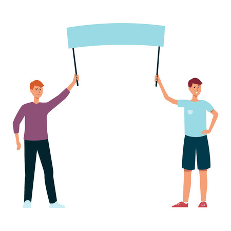 Two men holding blank protest sign, angry male protesters with empty banner in demonstration, human rights activists flat cartoon vector illustration isolated on white background Illustration
