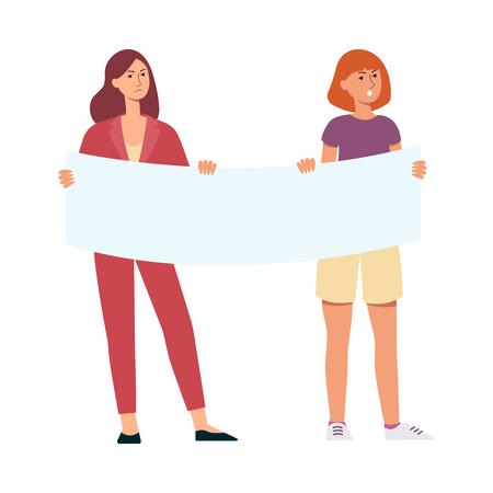 Manifestantes mujeres jóvenes o estudiantes sosteniendo una ilustración de vector plano cartel en blanco aislada sobre fondo blanco. Activistas protestan y hacen huelga por los derechos y la democracia
