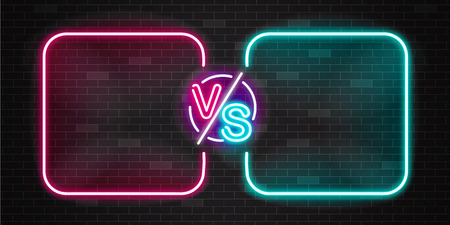 Neon screen and banner of versus battle, glow pink and blue outline vs duel for game fight, match or challenge for two team or fighter. Vector illustration on black background of neon versus. Çizim
