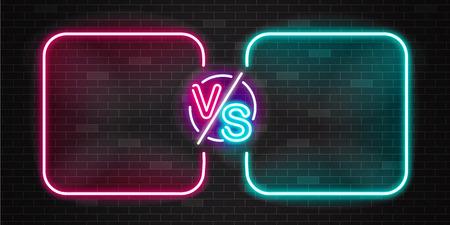 Pantalla de neón y pancarta de batalla versus, contorno rosado y azul brillante contra duelo para pelea de juego, partida o desafío para dos equipos o luchador. Ilustración de vector sobre fondo negro de neón versus.