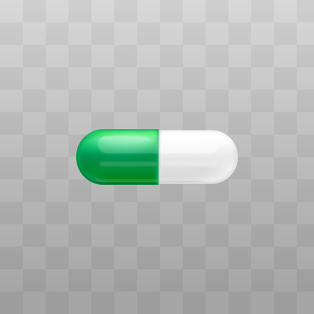 Medical treatment drug duo capsule or pill for package and advertising in pharmacy vector illustration isolated on transparent background. Containers for powder or granules.