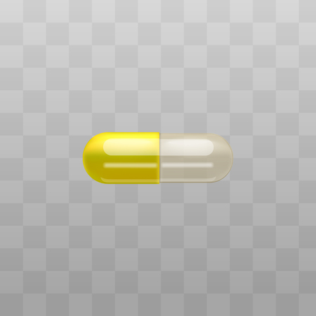 Medical drug or pills capsule with transparent part for posters and package vector illustration isolated on transparent background. Pills containers for powder or granules.
