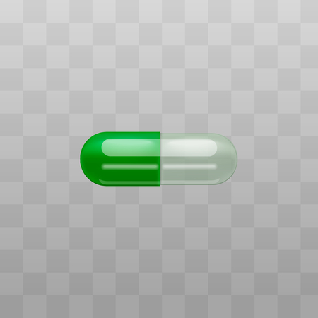Medical treatment drug duo green and transparent capsules for pharmacy design vector illustration isolated on transparent background. Pills containers for powder or granules.