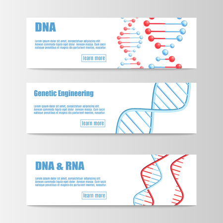 Set of scientific banners with molecular structure of DNA and RNA vector illustration isolated on white background. Medicine or genetic engineering technology templates.
