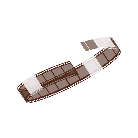 Twisted into a spiral reel of cinema and negative 3d film strip for shooting movies, video and photos, vector illustration.