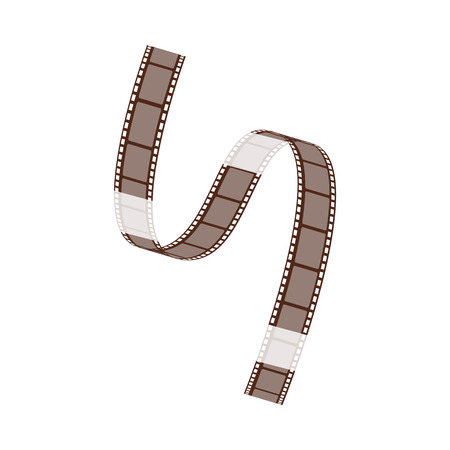 The film strip with blank frames curls and twists diagonally. Negative film strips for cinema and video. Vector illustration isolated on white background. Stock Vector - 123466137