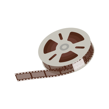 3d empty and blank reel of movie, 35 mm negative film strip for cinema and video. Vector illustration on white background.