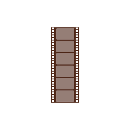 Long negative frame, cut film string. Film strip and picture for cinema and media. Isolated vector illustration in a flat cartoon style.