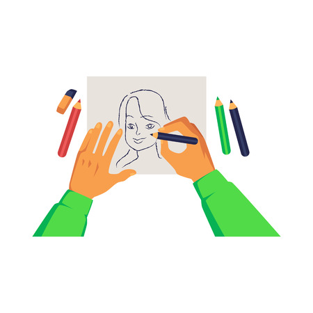 Artist hands holding pencil and drawing woman portrait on paper cartoon style, vector illustration isolated on white background. Handmade fine art work, creative hobby or activity
