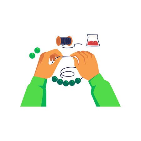 Le mani stringono una perlina sul filo e fanno gioielli in stile cartone animato, illustrazione vettoriale isolato su sfondo bianco. Lavoro fatto a mano, hobby o attività di artigianato creativo Vettoriali