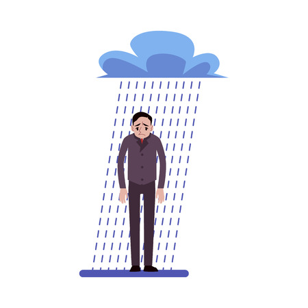 Depressed businessman standing in the rain under a cloud cartoon style, vector illustration isolated on white background. Tired male person with business troubles, crisis concept
