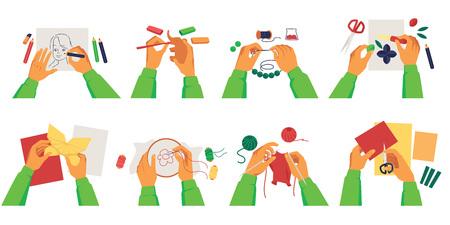 Conjunto de manos de persona haciendo manualidades de varios pasatiempos creativos estilo de dibujos animados, ilustración vectorial aislado sobre fondo blanco. Colección de trabajos y actividades artesanales