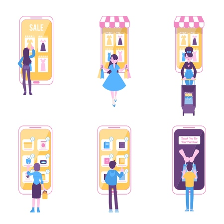 Set of people stands shopping online via huge smartphones flat cartoon style, vector illustration isolated on white background. Men and women purchasing things in mobile stores Stock Vector - 122414872