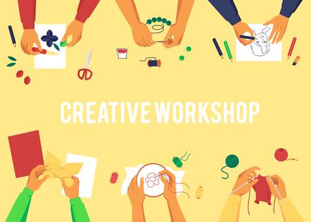 Banner mit Draufsicht auf verschiedene Hände, die handgemachte Arbeiten im Cartoon-Stil erstellen, Vektorillustration auf gelbem Hintergrund mit Text. Plakatgestaltung zum Thema Kreativworkshop