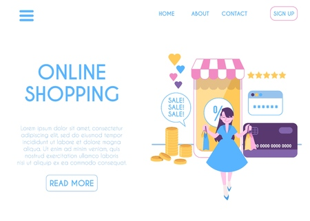 Web design template of online mobile shopping page flat cartoon style, vector illustration isolated on white background. Woman carries bags from online store on huge smartphone screen Illustration