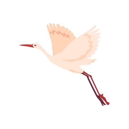Icône d'oiseau grue dessinée à la main de vecteur. Dessinez des animaux blancs volants qui décollent. Cigogne élégante, symboles de la Chine et de l'Asie. Illustration isolée Vecteurs