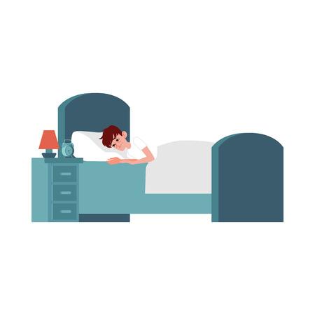 Vector infelice giovane sdraiato a letto con disturbi del sonno. Personaggio maschile stanco con insonnia. Ragazzo esausto con sonnolenza a letto con le 3 in punto a guardare il tavolo.