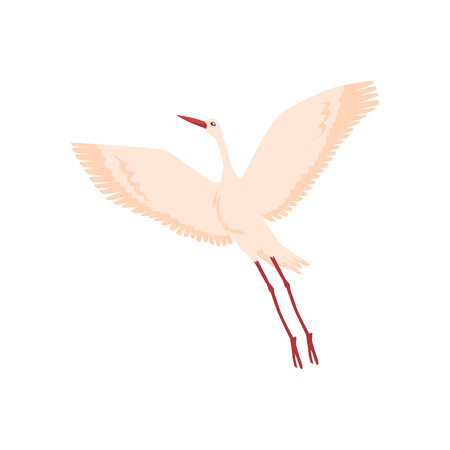 Vector hand drawn crane bird icon. Sketch flying white animals taking off. Elegant stork, symbols of china and asia. Isolated illustration