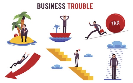 Set of businessman in different trouble situations cartoon style, vector illustration isolated on white background. Metaphor or concept collection of business crisis conditions