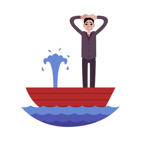 Hombre de negocios en pánico de pie en el barco con fugas y sosteniendo la cabeza estilo de dibujos animados, ilustración vectorial aislado sobre fondo blanco. Hombre gritando mientras naufragio, concepto de crisis empresarial Ilustración de vector