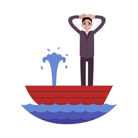 Panicked businessman standing in leaking boat and holding head cartoon style, vector illustration isolated on white background. Screaming male while shipwreck, business crisis concept