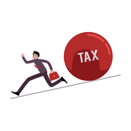 Businessman running away from tax ball rolling down to him cartoon style, vector illustration isolated on white background. Male evades paying taxes, business troubles concept