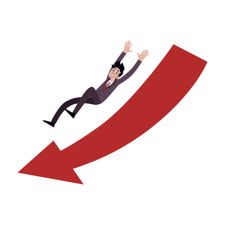 Businessman falling down in the direction of huge red arrow cartoon style, vector illustration isolated on white background. Male with business failure or troubles, crisis concept Ilustrace