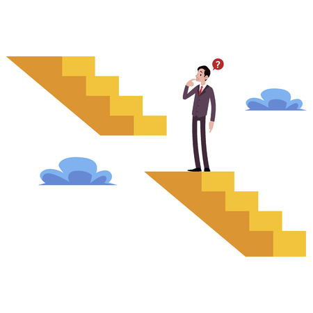 Businessman stands on broken stairs thinking how get next level cartoon style, vector illustration isolated on white background. Male climbing the career staircase, business challenge concept