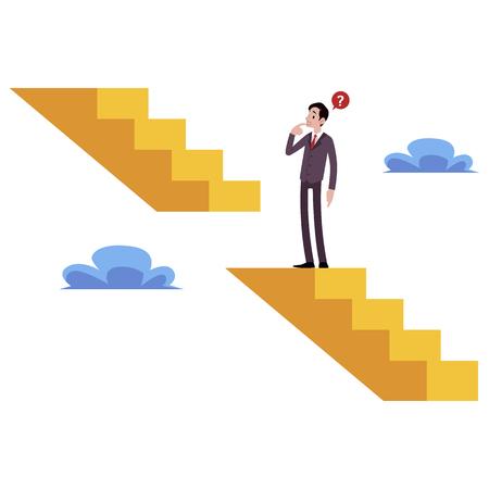 L'homme d'affaires se tient sur des escaliers cassés en pensant comment obtenir un style de dessin animé de niveau supérieur, illustration vectorielle isolée sur fond blanc. Homme montant l'escalier de carrière, concept de défi d'affaires Vecteurs
