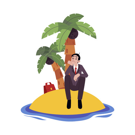 Sad businessman sitting alone on island surrounded by water cartoon style, vector illustration isolated on white background. Frustrated male with business troubles, crisis concept Illustration