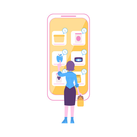 Woman stands near huge smartphone pointing to food icon flat cartoon style, vector illustration isolated on white background. Discount in online grocery store, mobile shopping concept