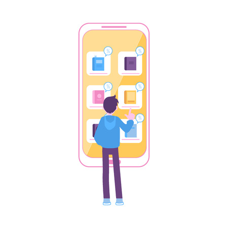 Man stands near huge smartphone pointing to book icon flat cartoon style, vector illustration isolated on white background. Discount in online bookstore, mobile shopping concept