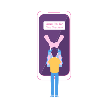 Man stands near smartphone with thankful message on screen flat cartoon style, vector illustration isolated on white background. Thank you for purchase online banner, mobile shopping concept Illustration