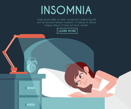 Vector insomnia poster with unhappy young woman at bed with sleep disorder at night. Tired female character can not sleep. Exhausted girl with sleepnessness in bed