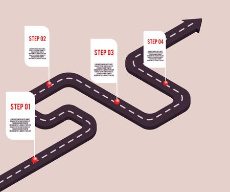 Concepto de hitos de negocio de vector con puntos y pasos con texto de espacio en la ruta por carretera. Cronología de la empresa, plantilla de presentación infográfica. Estrategia corporativa, flujo de trabajo de procesos. Ilustración de vector