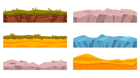 Vector soil ground layers with grass, rocks, sand and ice underground texture set. Subterranean landscape for game map design. Layered earth surface, geological natural clay. Ilustração