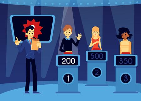 Concetto di quiz televisivo vettoriale erudito con conduttore dello spettacolo, presentatore vicino all'uomo, donne che prendono parte al gioco in piedi sul podio con punti sullo schermo alzando la mano, premendo il pulsante rosso per rispondere.