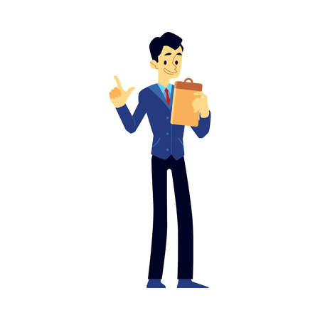 Vector cheerful show host, newscaster or reporter man in suit holding clipboard. Smiling man in jacket interviewer or emcee. Male public presenter.
