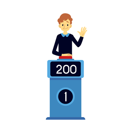 Vector happy man taking part in quiz show standing at podium with points at screen raising hand up , pushing red button in order to answer. Erudite uducational TV game with questions concept. Illustration