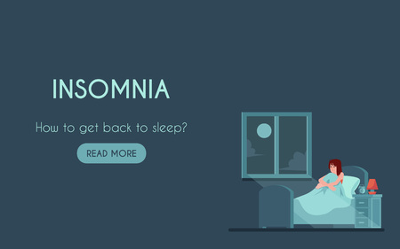 Vector insomnia poster with unhappy young woman at bed with sleep disorder at night. Tired female character can not sleep. Exhausted girl with sleepnessness in bed sitting holding knees.