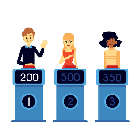 Vector happy man, women taking part in quiz show standing at podium with points at screen raising hand up , pushing red button in order to answer. Erudite uducational TV game with questions concept.